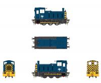 2072 Heljan Class 03 0-6-0 Diesel Locomotive Un-Numbered in BR Blue/Wasps with Flowerpot Exhaust